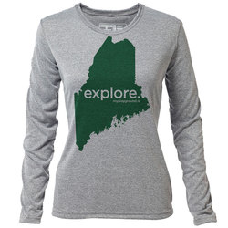 "explore. Maine ""Customize Graphic Color"" - Womens LS Hybrid T"